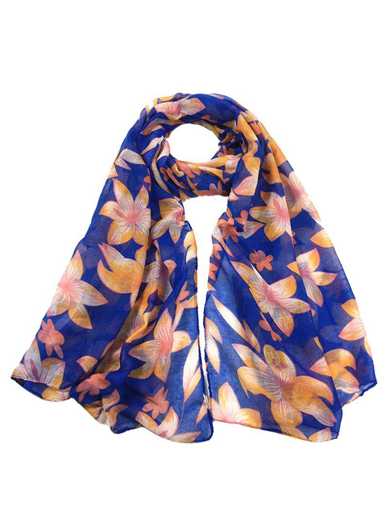 Affordable Vintage Flourishing Flowers Pattern Silky Chiffon Scarf