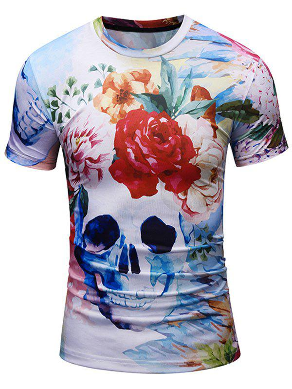 Chic Floral Skull Print Tee