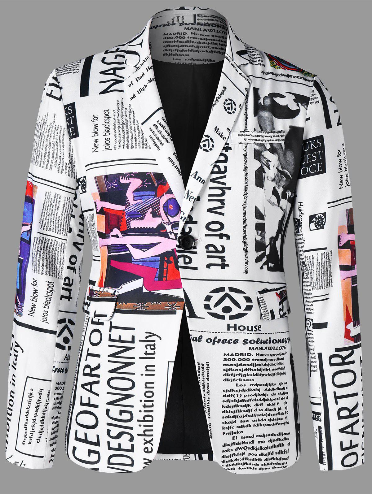 Affordable Newspaper Print Lapel Blazer