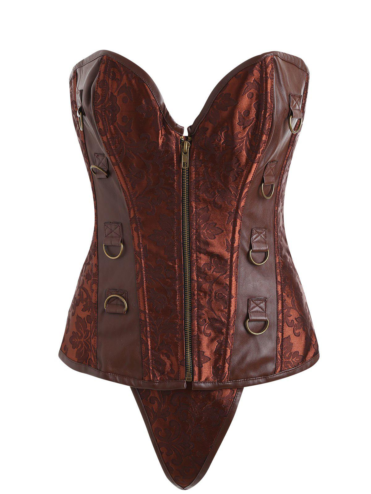 Sale Brocade Zip Faux Leather Insert Corset
