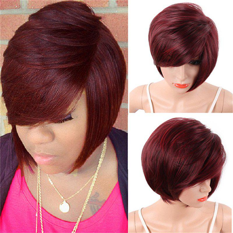 Affordable Short Inclined Bang Straight Colormix Synthetic Wig