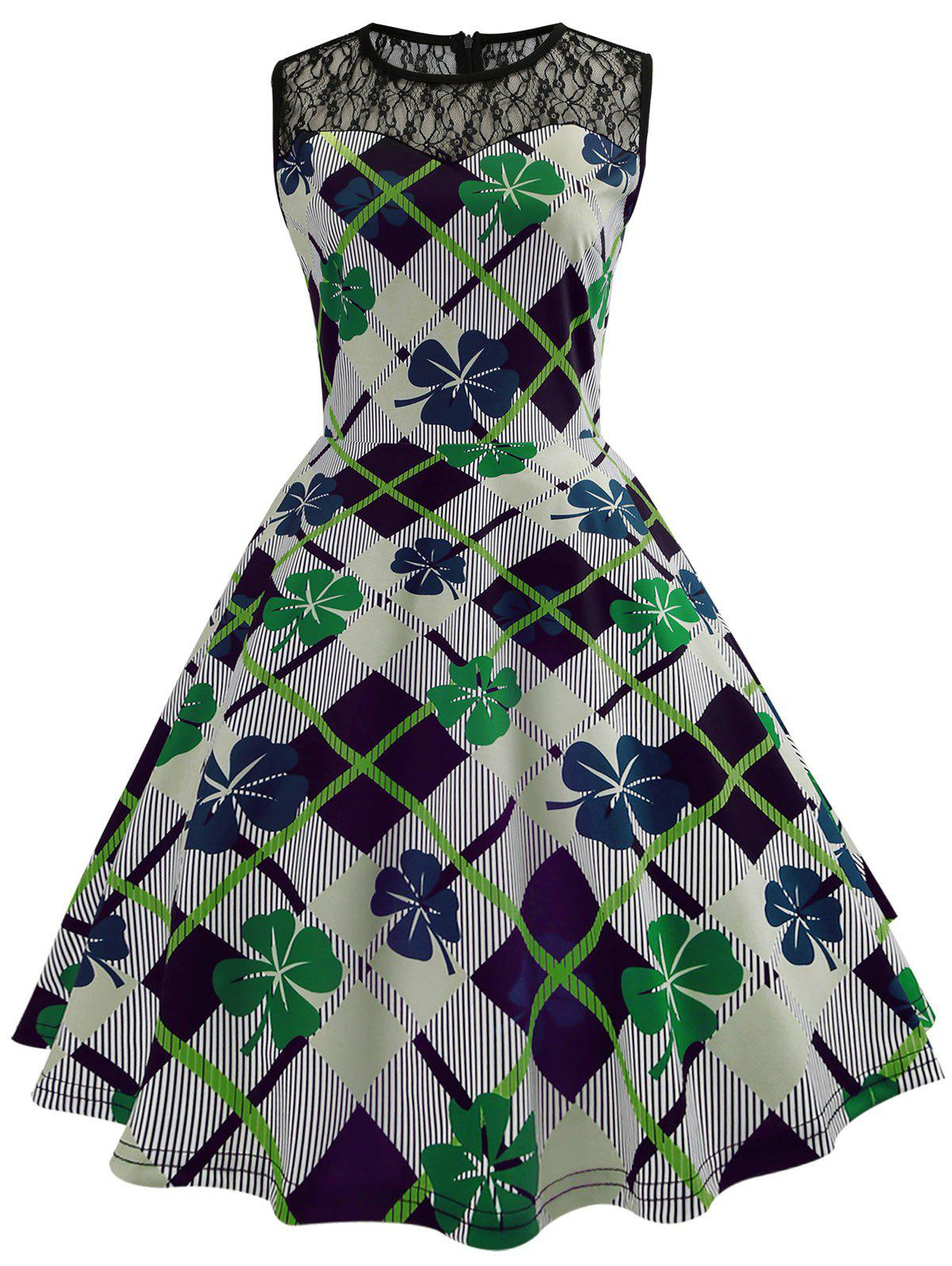 Sale Vintage Lace Insert Leaf Print Sleeveless Dress