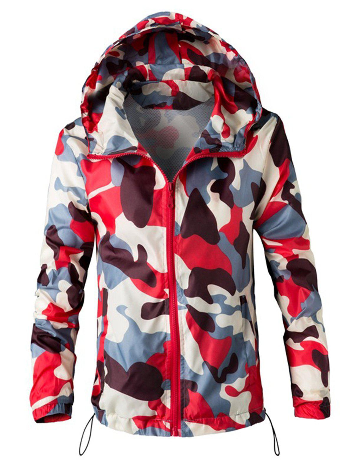 Fashion Mesh Lining Camouflage Zip Up Windbreaker Jacket