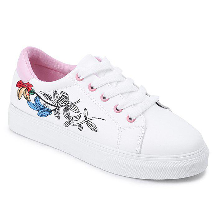 Discount Faux Leather Flowers Skate Shoes