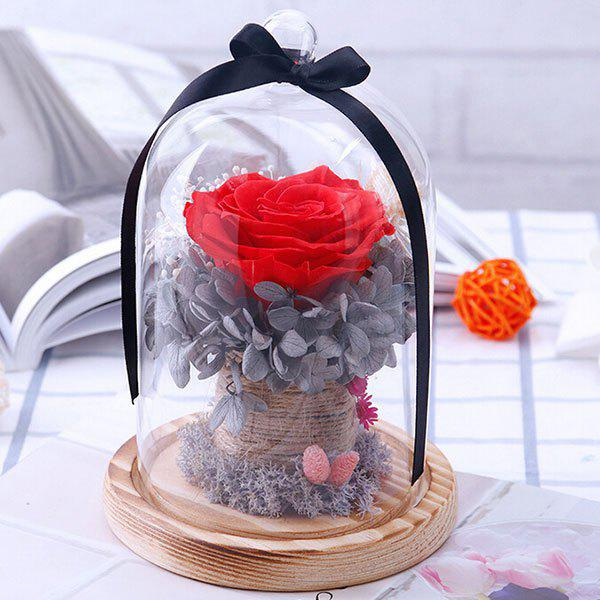 Fancy Valentine's Day Handmade Glass Hood Preserved Fresh Flower Rose Gift