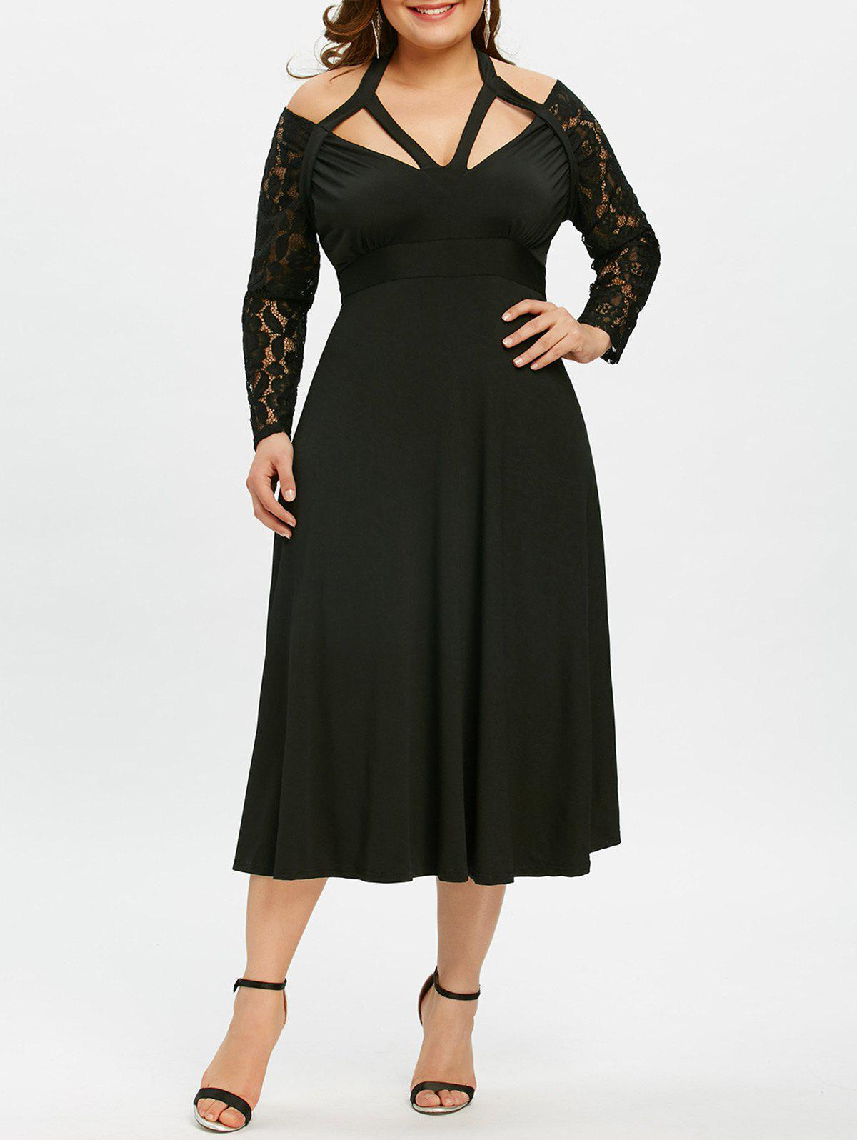 Unique Cut Out Plus Size Empire Waist Flare Dress