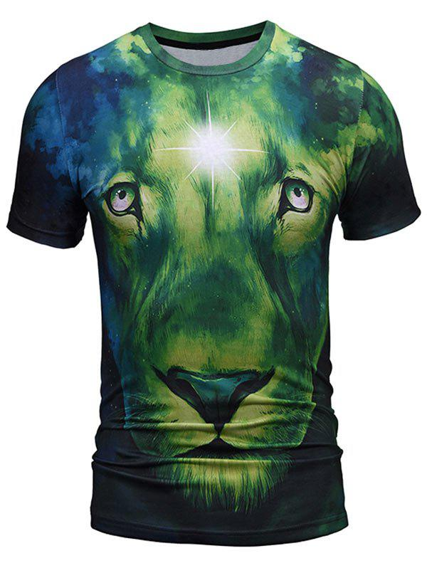 Fashion Lion Face Print Cool Tee