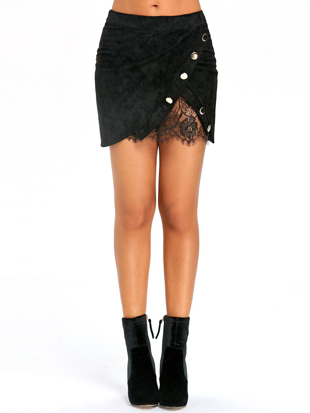 Hot Buttoned Lace Insert Mini Skirt
