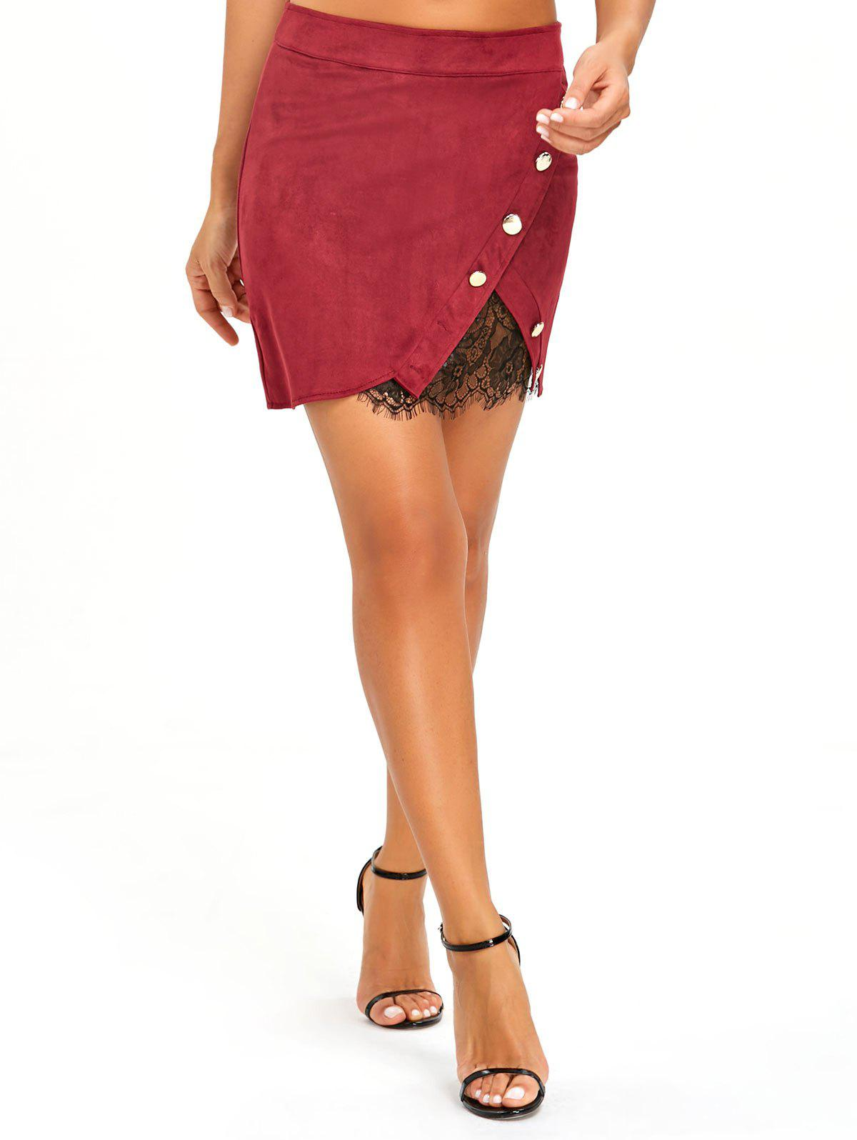Buy Buttoned Lace Insert Mini Skirt