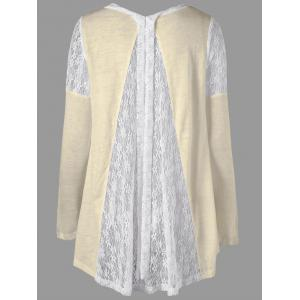Back Tie Up Long Sleeve Lace Insert Top -