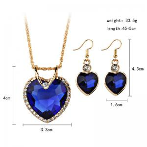 Faux Jewelry Heart Shape Pendant Necklace and Drop Earrings Set -