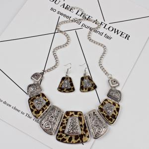 Vintage Exaggerated Leopard Pendant Necklace and Drop Earrings Set -