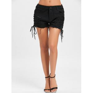 Ripped Side Lace Up Shorts -