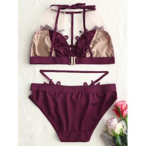 Mesh Sheer Lace Applique Bralette Set -