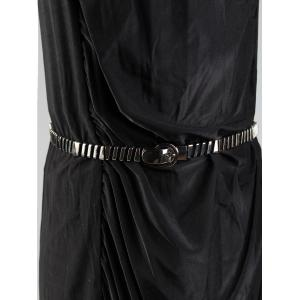 Elastic Slender Waist Belt with Metal Embellished -