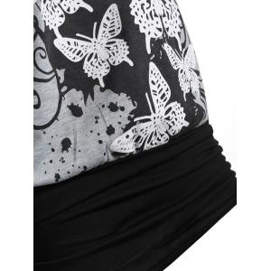 Butterfly Print One Cold Shoulder Long Sleeve T-shirt -