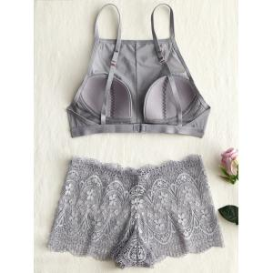 Mesh Lace Sheer Bra Set -