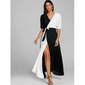 Puff Sleeve High Slit Color Block Maxi Dress -