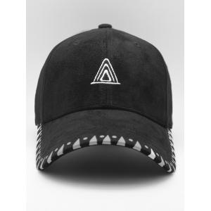 Faux Suede Baseball Hat with Triangle Embroidery -