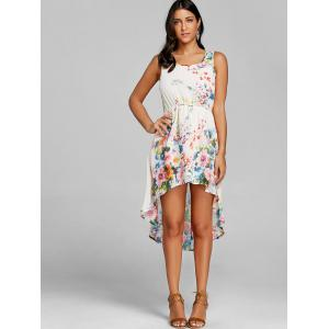 Floral Print Sleeveless High Low Dress -