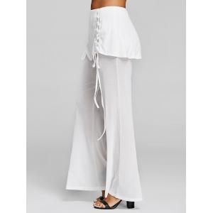 Lace Up Skirted Palazzo Pants -