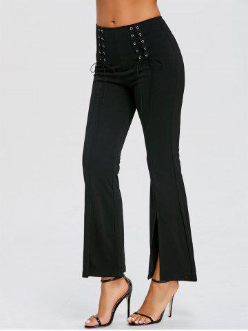 Shop Slit High Waisted Lace Up Bell Bottom Pants