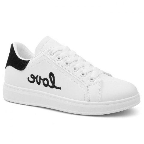 Sale Round Toe Love Embroidered Sneakers
