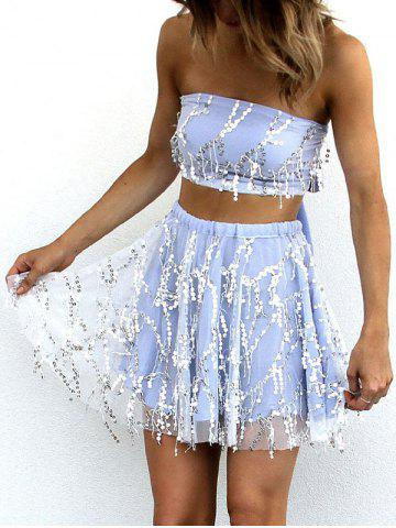 Chic Fringe Sequins Tube Skirt Two Piece Set