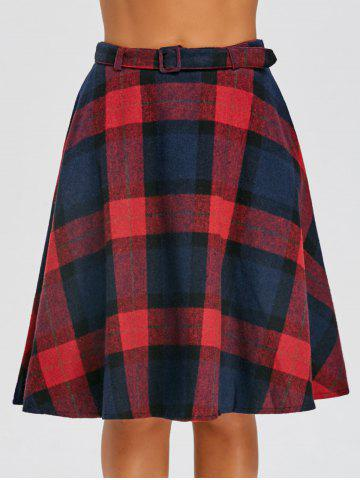 Discount High Waist Plaid A Line Skirt