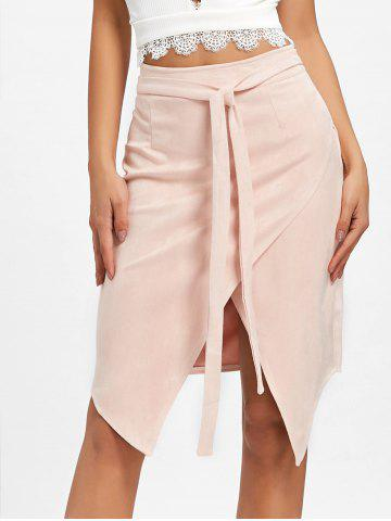 Cheap Asymmetric High Waisted Wrap Skirt