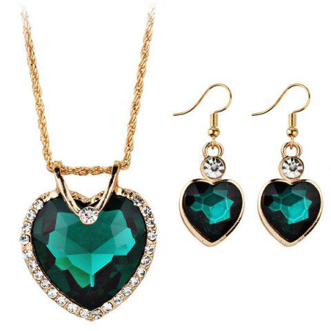 Best Faux Jewelry Heart Shape Pendant Necklace and Drop Earrings Set