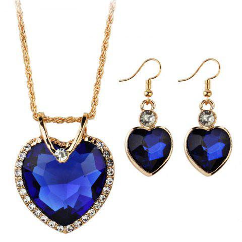 Hot Faux Jewelry Heart Shape Pendant Necklace and Drop Earrings Set
