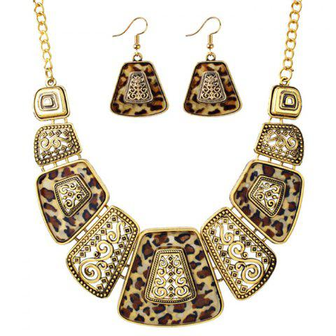 Best Vintage Exaggerated Leopard Pendant Necklace and Drop Earrings Set