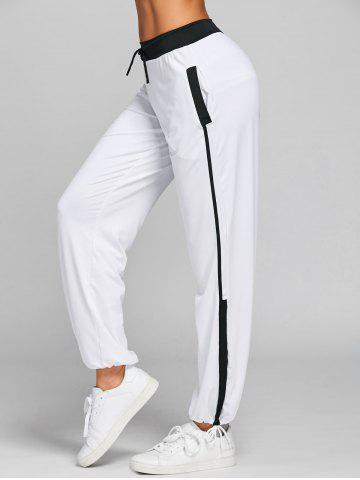 Cheap Drawstring Color Block Yoga Pants
