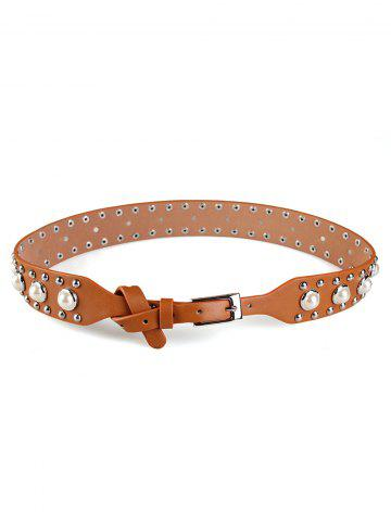 Cheap Faux Pearl Studs Embellished Wide Belt