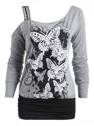 Unique Butterfly Print One Cold Shoulder Long Sleeve T-shirt