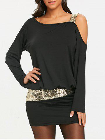 Buy Sequins Cold Shoulder Long Sleeve Blouson Dress