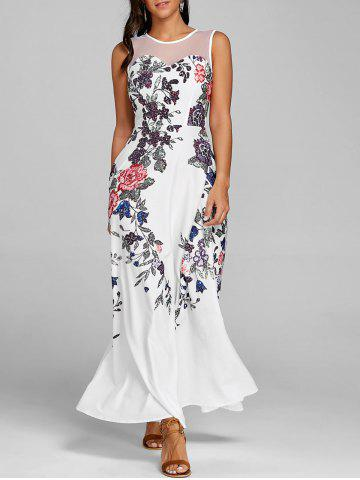 Latest Floral Print Mesh Panel Maxi Dress