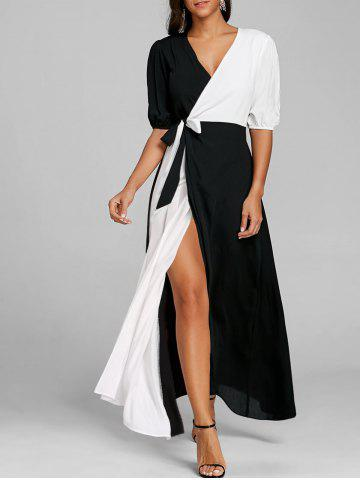 Unique Puff Sleeve High Slit Color Block Maxi Dress
