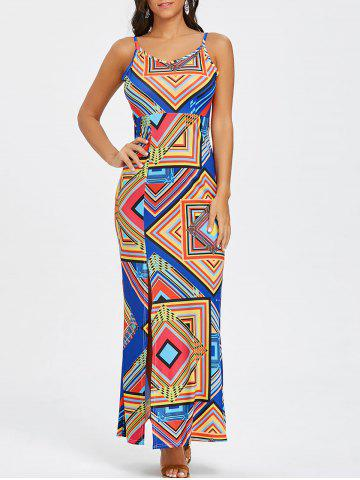 Discount Cami Strap Geometric Print Backless Maxi Dress