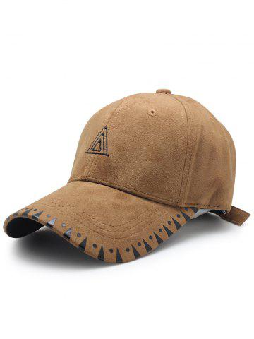 Fashion Faux Suede Baseball Hat with Triangle Embroidery