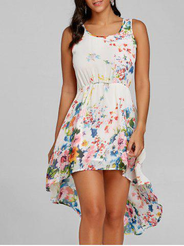 Store Floral Print Sleeveless High Low Dress