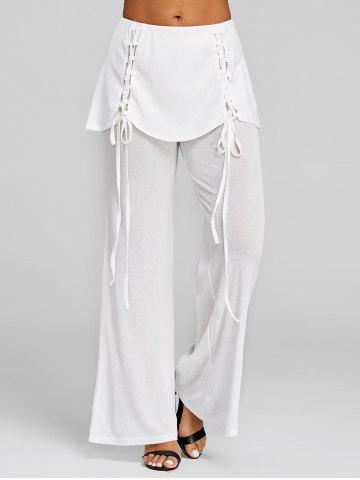 Lace Up Skirted Palazzo Pants