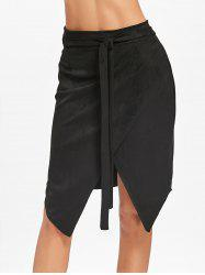 Asymmetric High Waisted Wrap Skirt -
