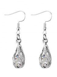 Faux Diamond Inlay Hollow Out Drop Earrings -