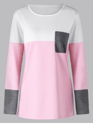 Color Block Long Sleeve Tunic Top -