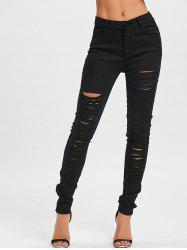 Pockets Ripped Skinny Pants -