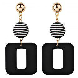 Retro Striped Ball and Geometric Acrylic Drop Earrings -