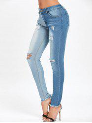 Two Tone Color Ripped Jeans -