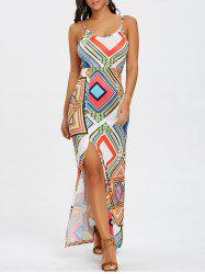 Cami Strap Geometric Print Backless Maxi Dress -